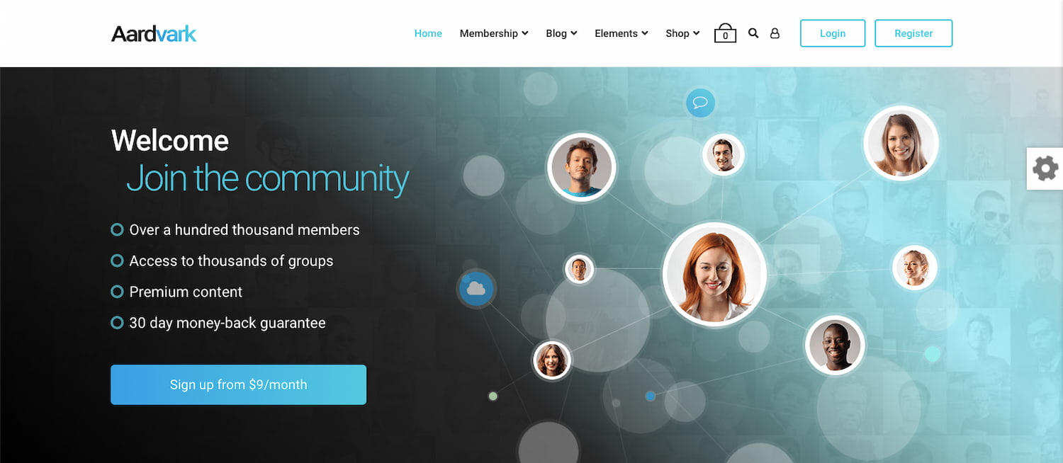Aardvark theme demo shows BuddyPress community website with monthly membership subscription CTA