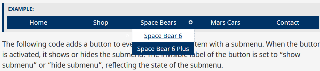 When tab is pressed, the focus moves to the Space Bear 6 link.