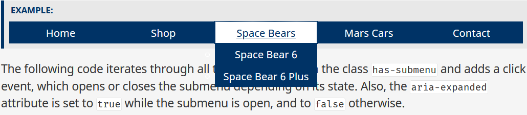 The Space Bears drop down menu with 2 links is visible.