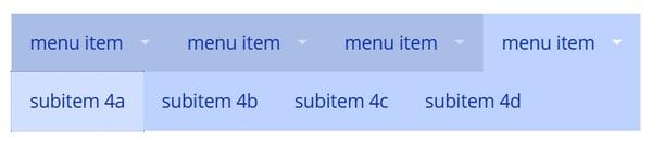 Superfish nav-bar with four submenu items aligned horizontally.