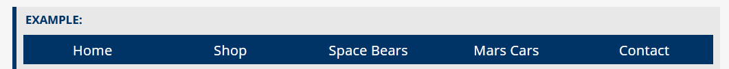 Navigation bar with five links - Home, Shop, Space Bears, Mars Cars and Contact.