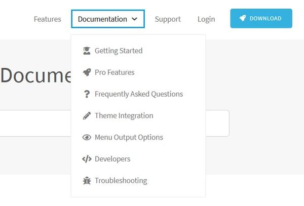 Navigation menu with a drop down menu for Documentation with seven submenu items.