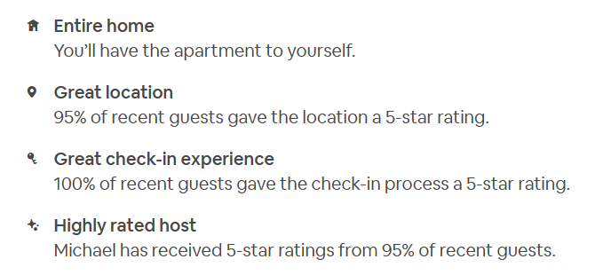Airbnb apartment listing with icons