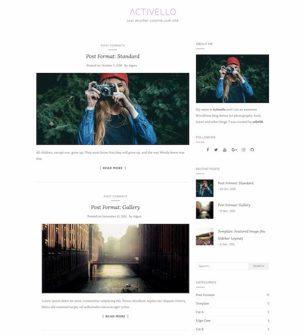 Activello minimalist blog theme dem