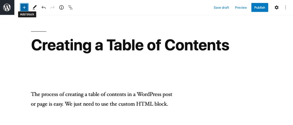 Add Block button in WordPress Gutenberg editor