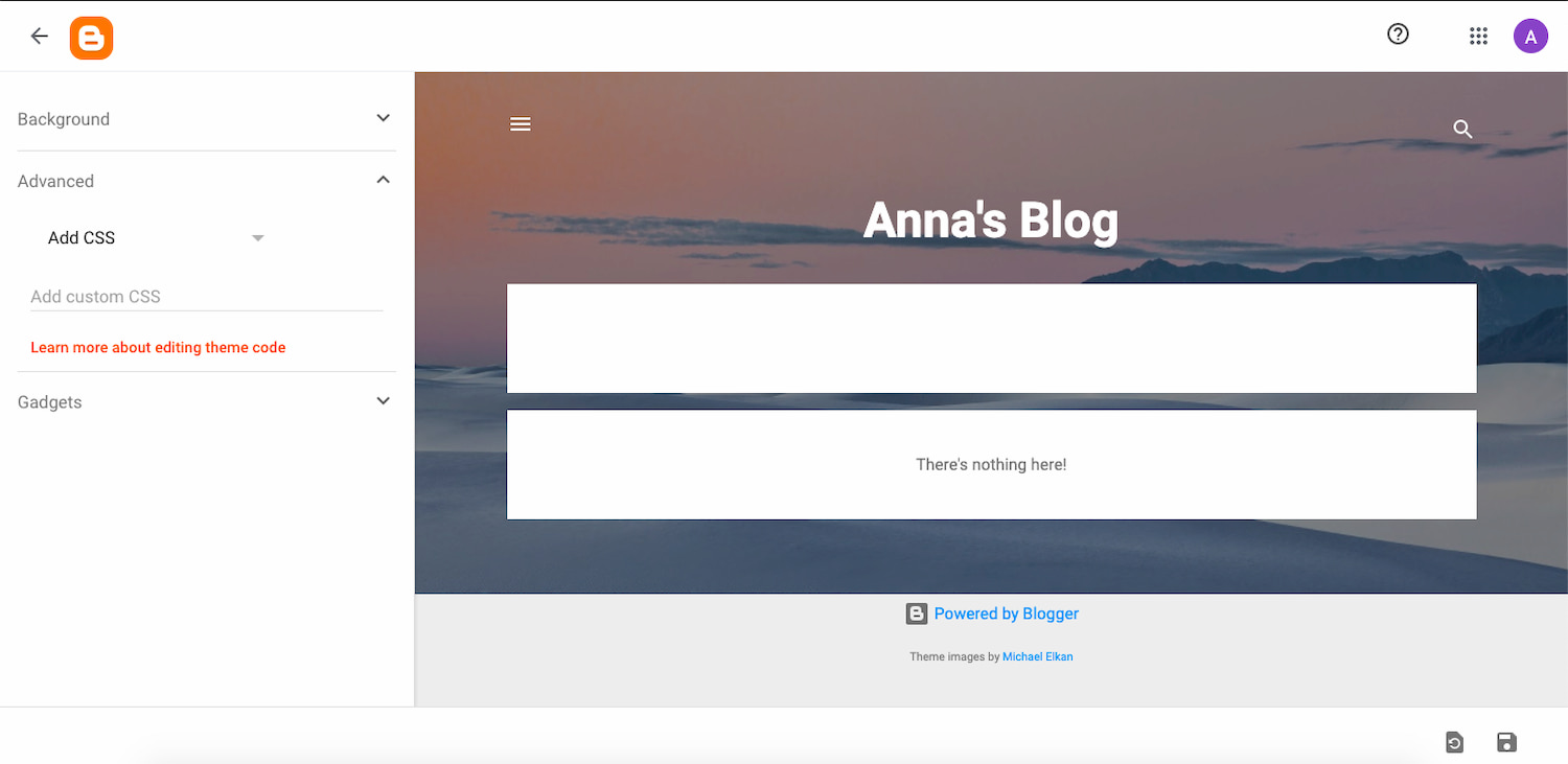 Add CSS module built into Bloggers theme options panel