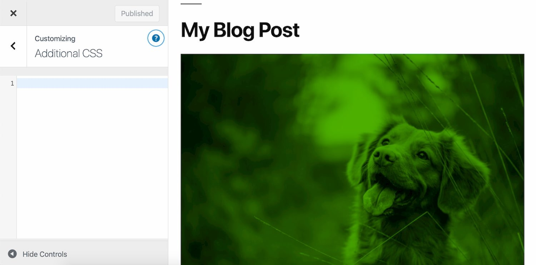 Add custom css module built into WordPress dashboard