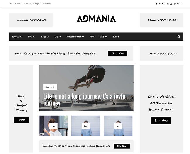 Admania theme demo has multiple banners and widgets for ads and affiliate products