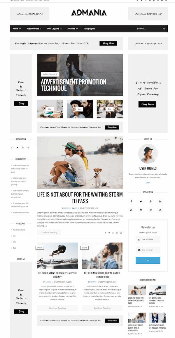 Admania wordpress theme with advertising space