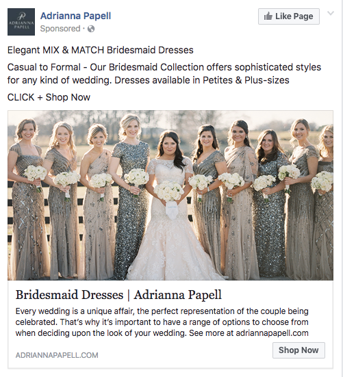 Facebook retargeting ad for Adrianna Papell wedding dresses