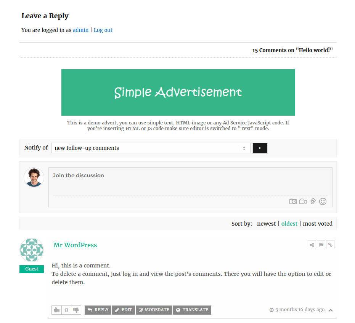 ad displayed in wordpress from wpdiscuz plugin