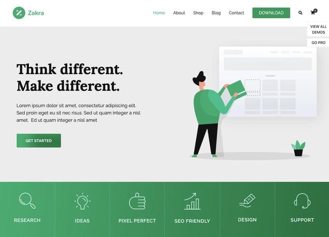 Agency demo of the fast WordPress theme Zakra