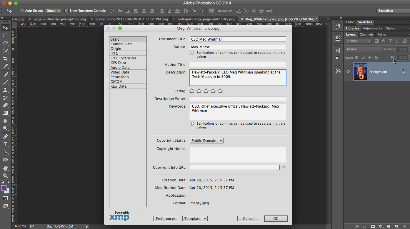 add exif data in photoshop