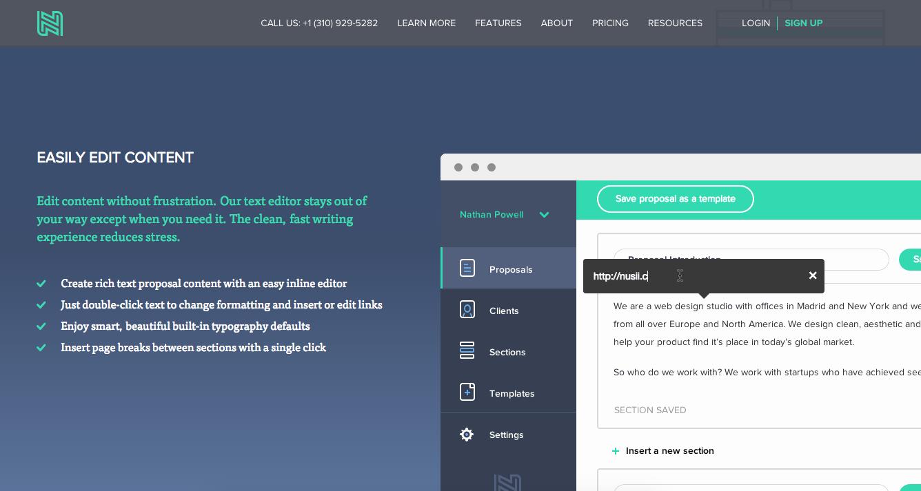Nusii proposal software homepage