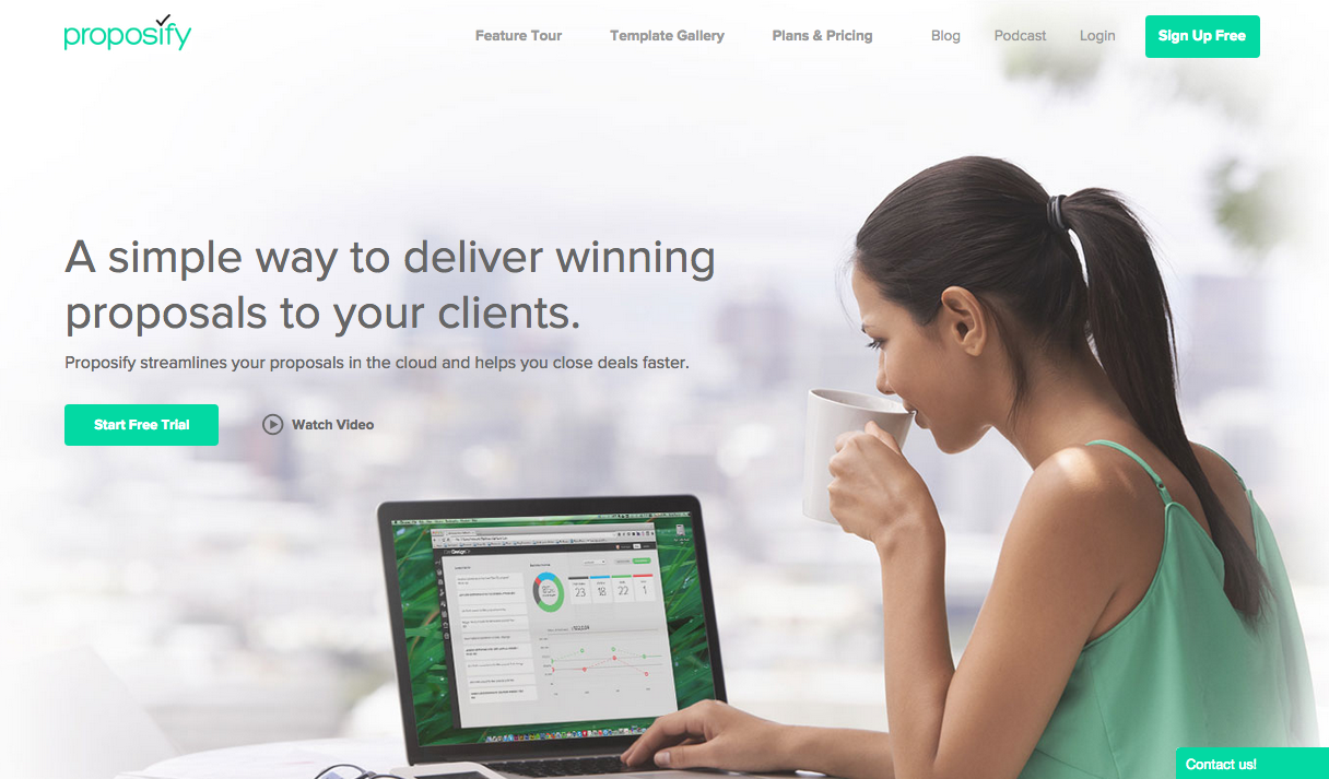 Proposify proposal software homepage