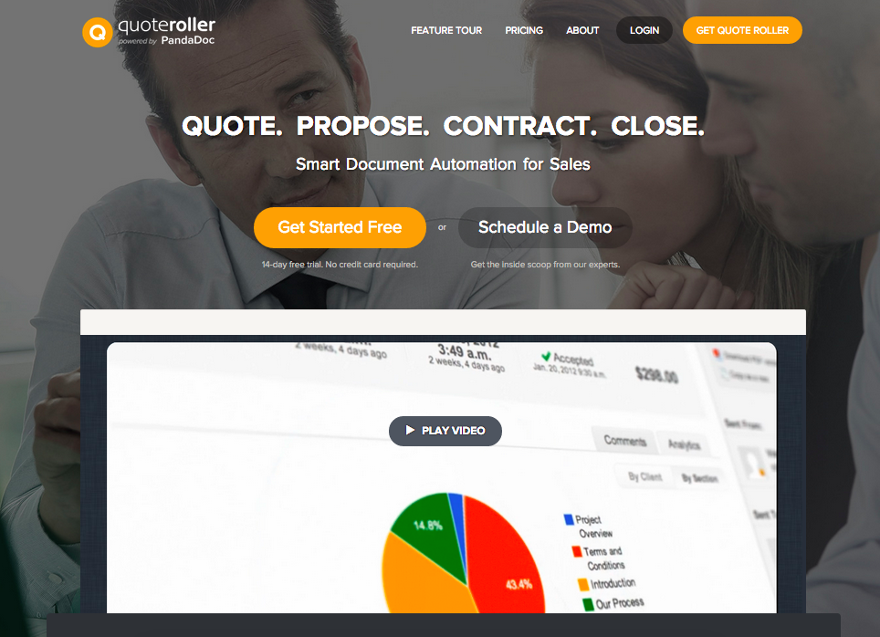 Quote Roller proposal software homepage