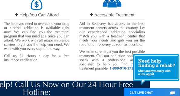 Blue 24/7 live chat window for online counseling on Aid In Recovery website