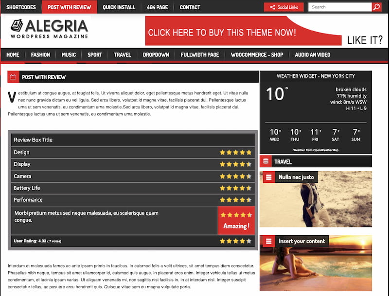 Alegria theme demo features review post