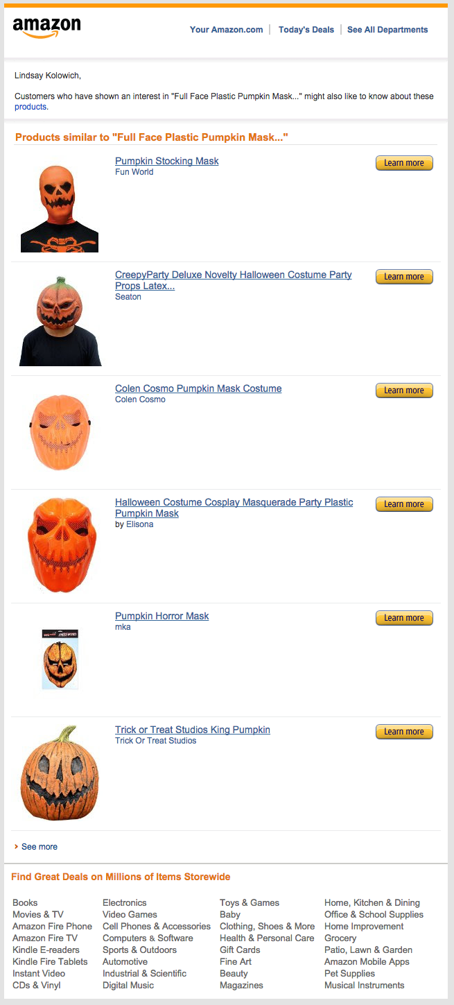 13 Email Examples That Totally Nailed Personalization Amazon Pumpkin Mask
