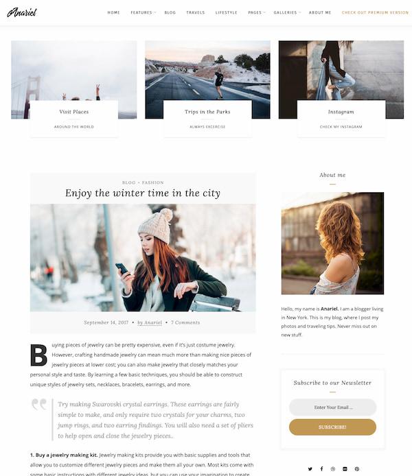 Anariel WordPress blogging theme with minimalist design