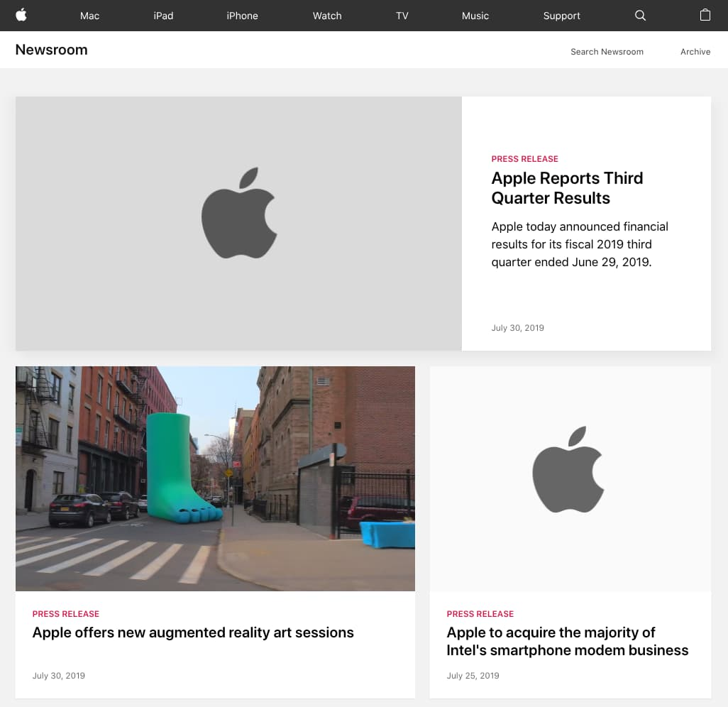 Apple Newsroom page