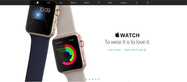 "AppleWatch subheading says ""To wear it is to love it."""
