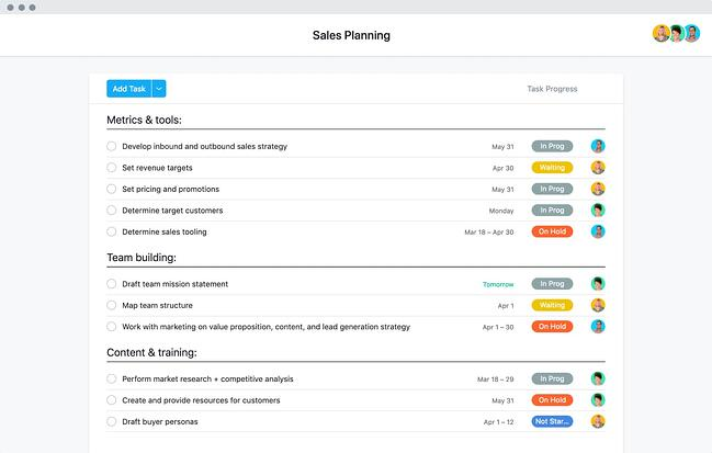 Asana Sales Plan Template Showing a Task List With Various Stages