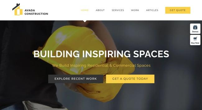Avada Construction prebuilt website for WordPress