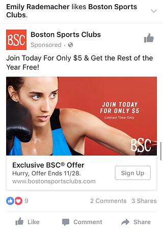 Boston Sports Clubs Facebook Offer Ad