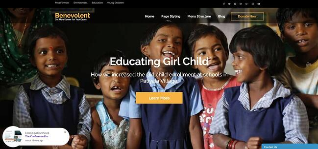 Benevolent WordPress theme for nonprofit organizations