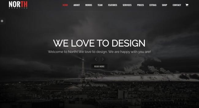 Best parallax wordpress theme North demo