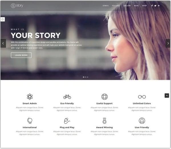 Best parallax wordpress theme Story demo