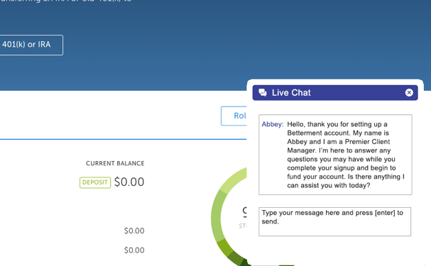 Betterment website using live chat to engage new account holders