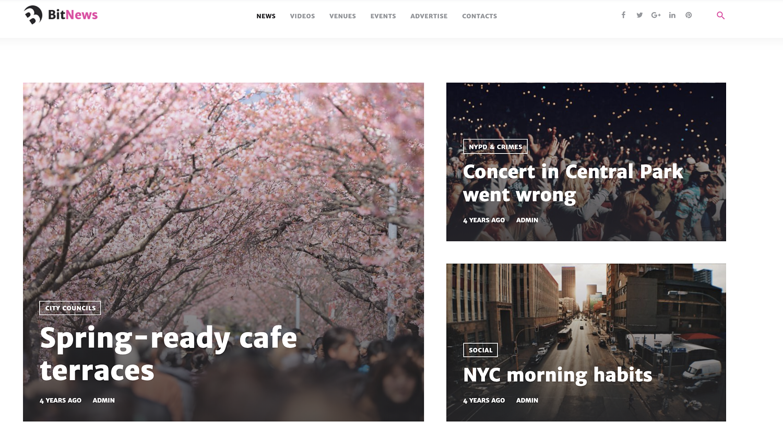 BitNews bootstrap WordPress theme TemplateMonster