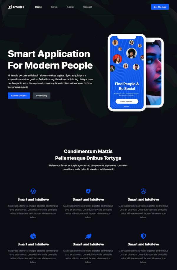 Blocksy App theme shows minimalist design in dark mode