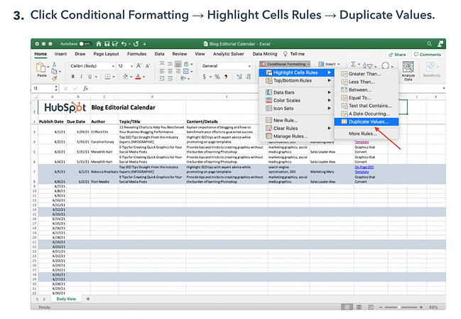 Blog post describing how to remove duplicates in Excel includes images with alt text to support content