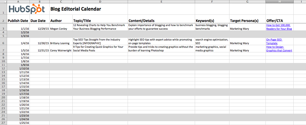 how to create an editorial calendar for your blog  free templates