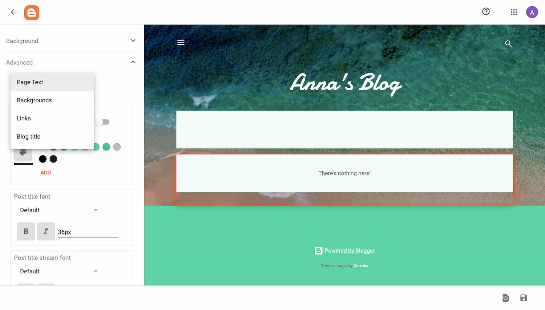 Bloggers customization options panel (1)