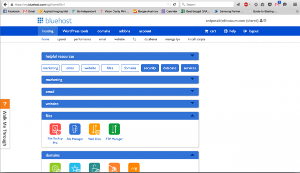 A Bluehost dashboard showing Site Backup Pro under the Files tab