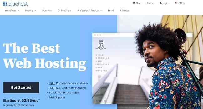 Product page for hosting the Bluehost WordPress website