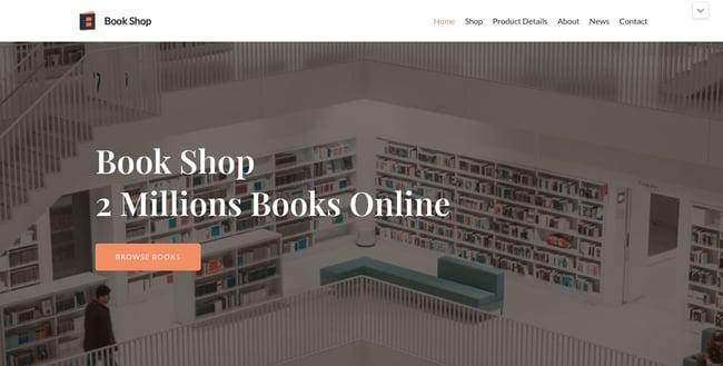 Book Shop demo of the free responsive WordPress theme Neve