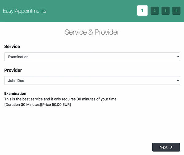 Booking form created with the Easy!Appointments plugin