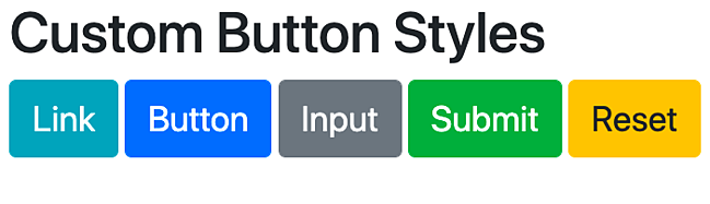 Bootstrap .btn class and modifier classes with default styles overridden by custom CSS