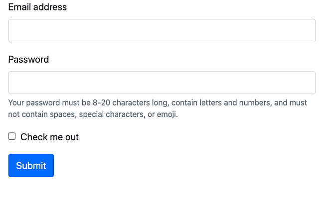 Bootstrap Help Text Example form provides instructions for filling out password correctly