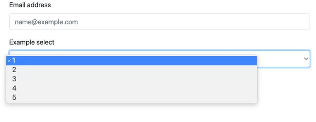 Bootstrap Select form include a dropdown menu