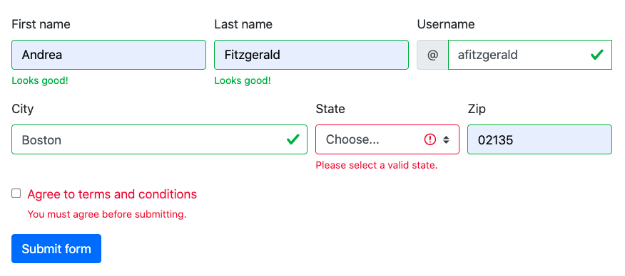 Bootstrap form validation style telling user to select a valid state and agree to terms and conditions before submitting the form