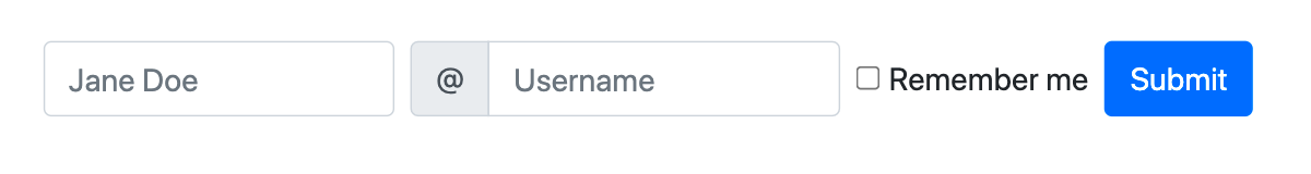 Bootstrap inline form displaying name and username labels, checkbox, and submit button on a single horizontal row