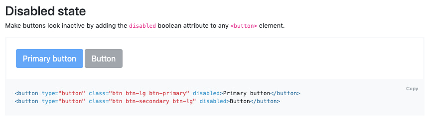 Bootstrap using HTML over JS to create disabled button