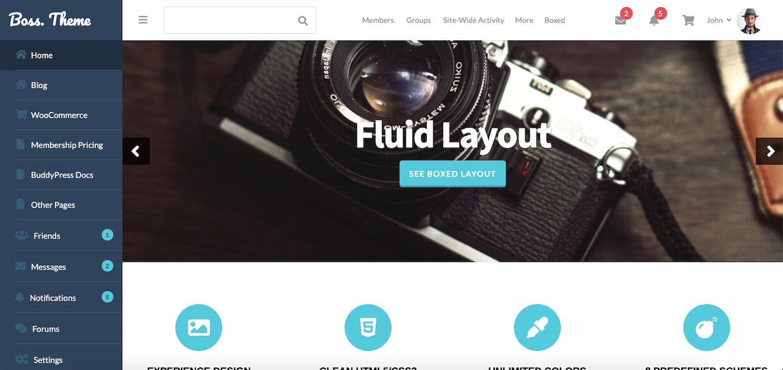 Boss theme demo shows a BuddyPress community website built on WordPress