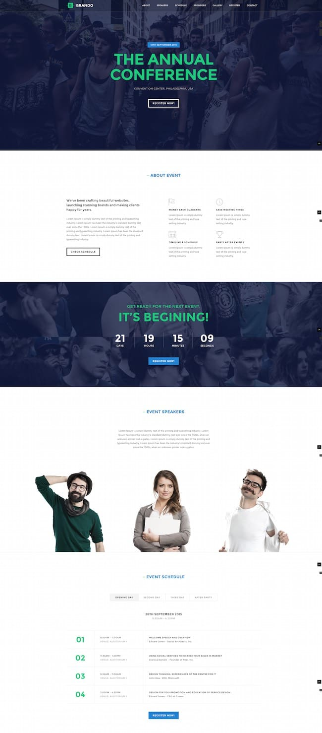 the one page WordPress theme Brando